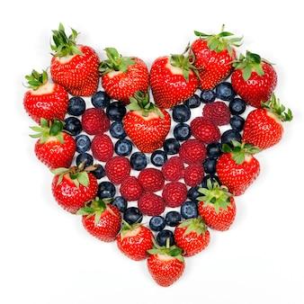 Bayas deliciosas. fresas, arándanos y frambuesas.