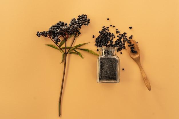 Bayas de saúco secas, arbusto, pala y botella