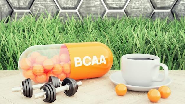 Bcaa cápsula de aminoácidos de cadena ramificada, dos mancuernas y una taza de café. nutrición deportiva para culturismo ilustración 3d