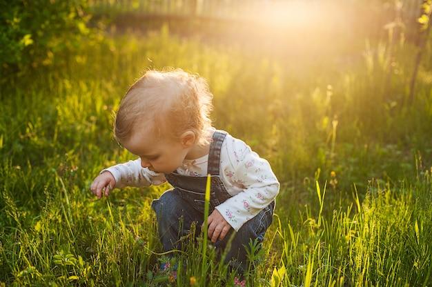 Bebé que se sienta en la hierba en luz del sol. muchacha rubia del verano lindo en el jardín.