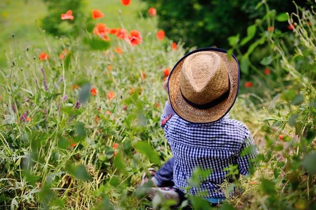 Bebé en un sombrero sobre un fondo de campo de amapola