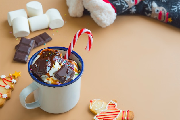 Bebida de chocolate con malvavisco