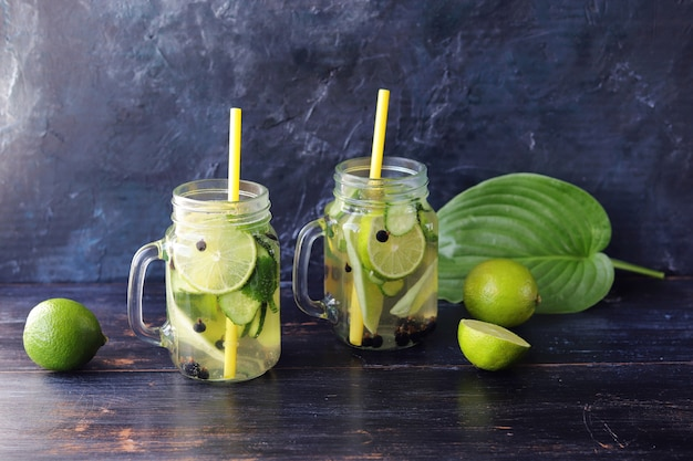 Bebida refrescante de frutas orgánicas, bayas y pepinos, hojas de menta en vasos de vidrio.