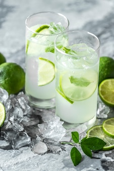 Bebidas frescas de lima macro shot