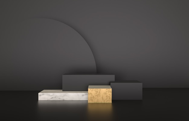 Belleza moda lujo podio telón de fondo para la exhibición del producto. fondo minimalista negro, mármol y oro. render 3d