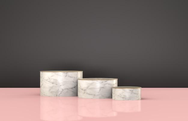 Belleza moda lujo podio telón de fondo para la exhibición del producto. fondo minimalista negro, mármol y rosa. render 3d