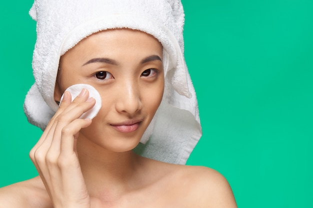 Belleza mujer asiática cuidado de la piel, belleza