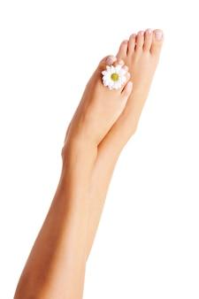 Belleza piernas femeninas bien arregladas aisladas en blanco.