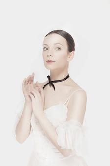 Belleza romántica. bailarina de estilo retro