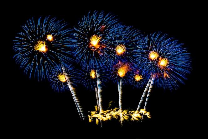 Bellos fuegos artificiales en el cielo negro