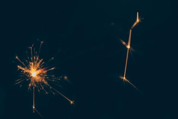 Bengala festiva quema en la noche