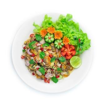 Berberechos ensalada picante almejas con aperitivo de hierbas tailandesas