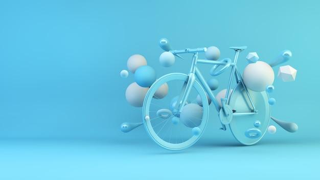 Bicicleta azul rodeada de formas geométricas render 3d