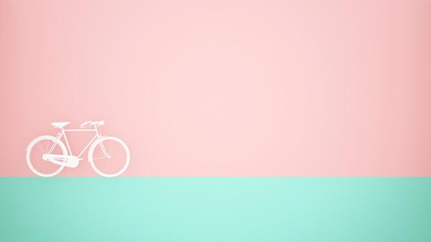 Bicicleta blanca en piso verde y fondo de pared rosa