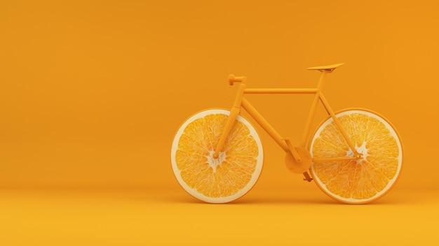 Bicicleta de concepto de salud con fondo de renderizado 3d de ruedas naranjas