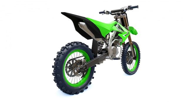 Bicicleta deportiva verde y negra para campo traviesa sobre un fondo blanco. racing sportbike. bicicleta de motocross moderna supercross dirt