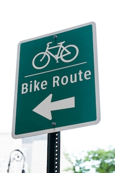 Bicicleta, ruta, señal, primer plano