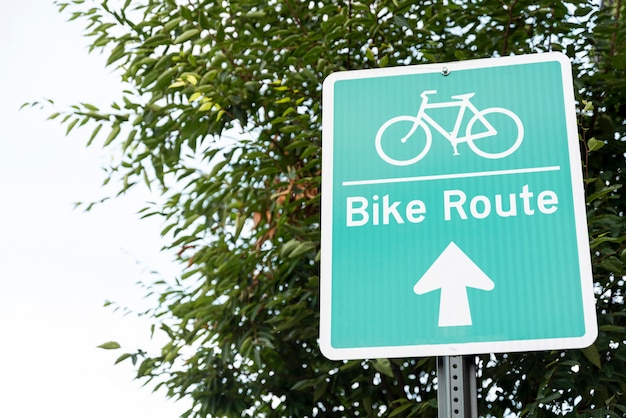 Bicicleta, señal, primer plano