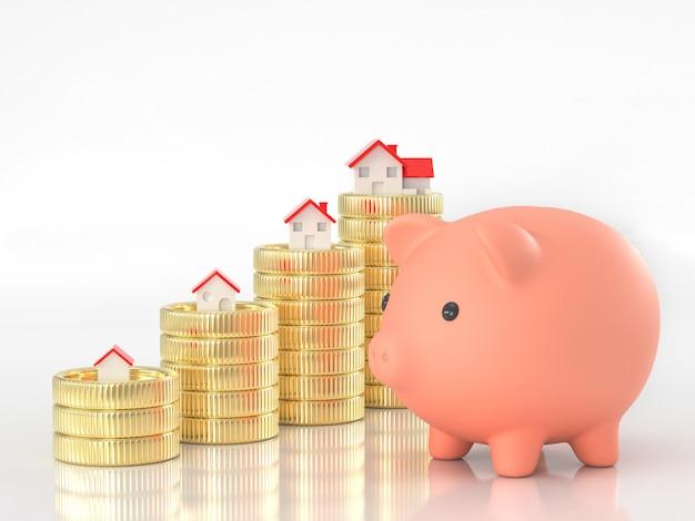 Bienes raíces ahorrando dinero para comprar el concepto de casa.