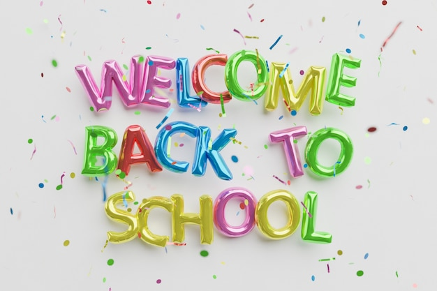 Bienvenido de nuevo al cartel de la escuela con globos.