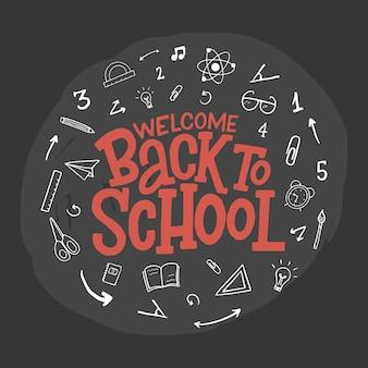 Bienvenido de nuevo a la escuela letras dibujadas a mano