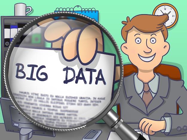 Big data en papel en la mano del empresario a través de una lupa para ilustrar un concepto empresarial. ilustración de doodle multicolor.