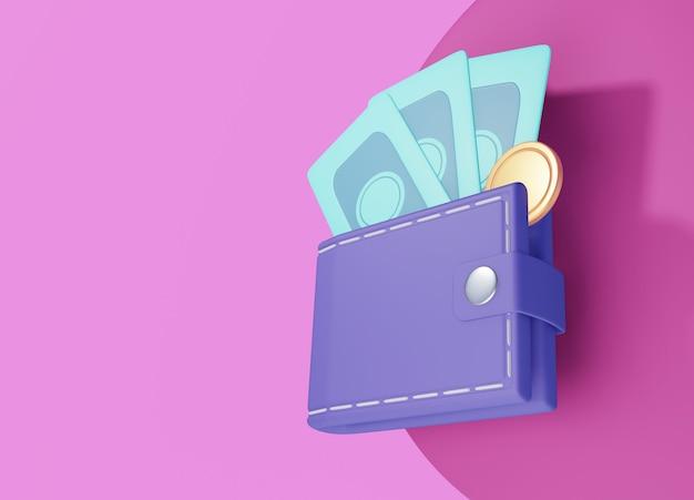 Billetera, billete de un dólar y monedas, ilustración 3d de pago en línea