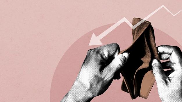 Billetera vacía debido al impacto económico del coronavirus ilustración de banner social