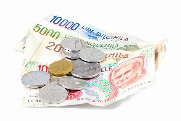 Billetes de italia. liras italianas y monedas de metal