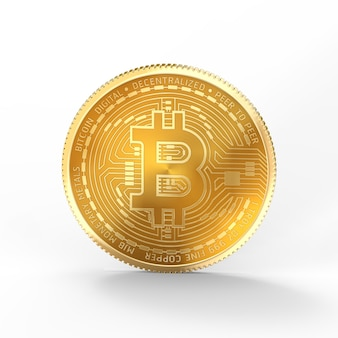 Bitcoin 3d aislado sobre fondo blanco con trazado de recorte.