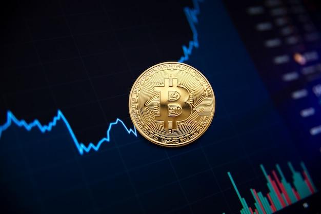 Bitcoin cryptocurrency gráfico de crecimiento de la moneda bitcoin en el gráfico de intercambio