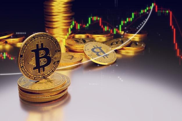 Bitcoin dorado sobre fondo oscuro, renderizado de ilustraciones 3d