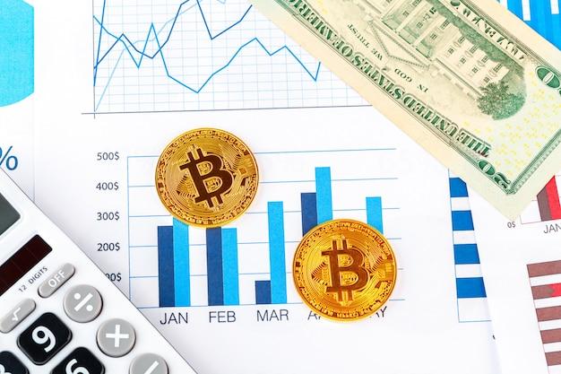 Bitcoin, gráfico y dólar estadounidense. comercio de finanzas