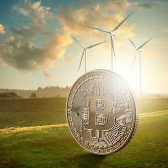 Bitcoin moneda de oro con el telón de fondo de un campo verde