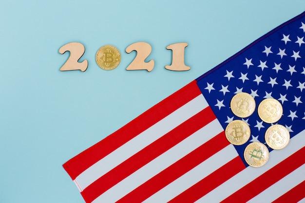 Bitcoins en la bandera de estados unidos de américa