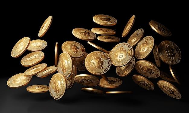 Los bitcoins dorados caen en el fondo negro. representación 3d.