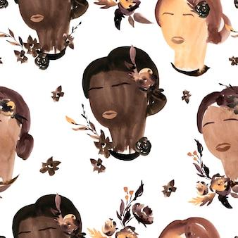 Black lives matter acuarela de patrones sin fisuras sobre fondo blanco.