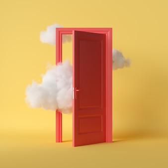 Blancas nubes esponjosas vuelan a través de la puerta roja abierta