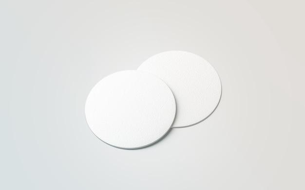Blanco en blanco dos posavasos de cerveza maqueta maqueta de bebida de alfombra redonda en blanco posavasos de botella vacía acostado