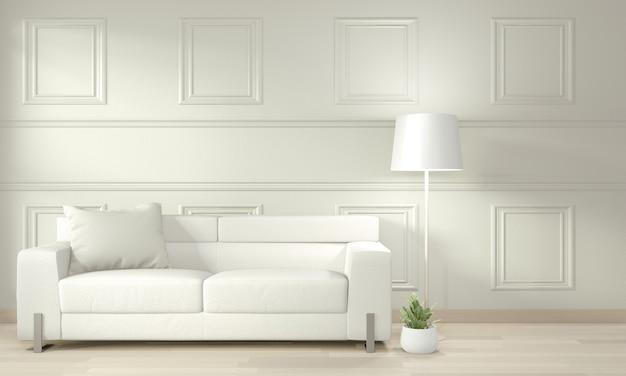Blanco moderno salón simulacro diseño de interiores