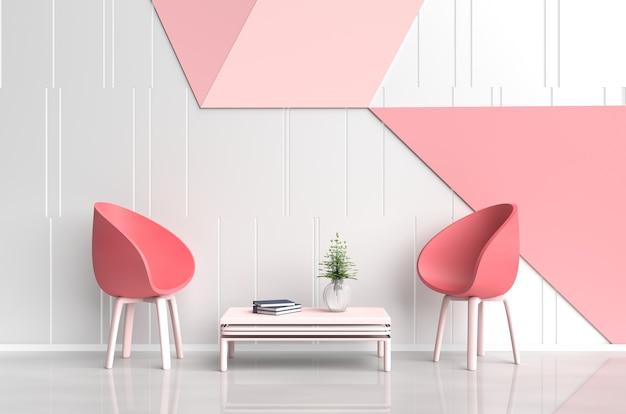 Blanco rosa roja habitación de amor en el día de san valentín. silla roja, pared de cemento rosa y roja. 3