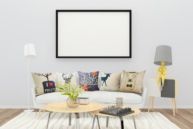 Blanco sofá color almohada salón madera piso fondo lámpara foto marco jarrón