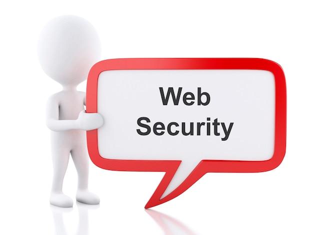 Los blancos 3d con burbujas de discurso seguridad web