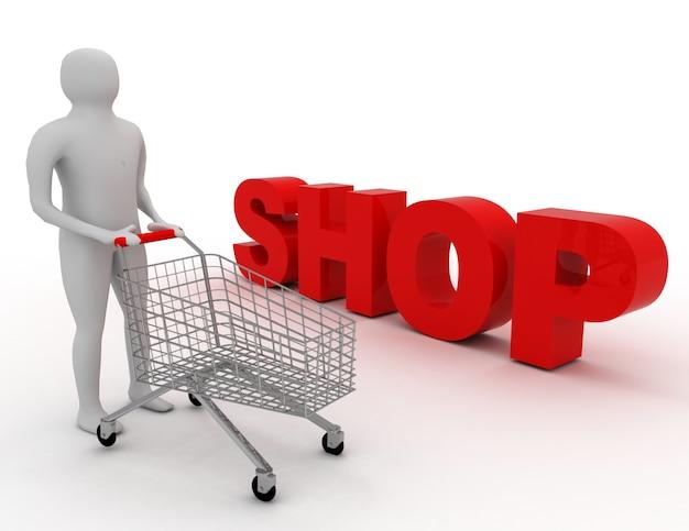 Los blancos con carro, caja de regalo y palabra tienda. concepto de tienda. fondo blanco aislado. ilustración procesada