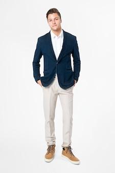 Blazer azul marino para hombre, ropa de negocios, moda, cuerpo completo