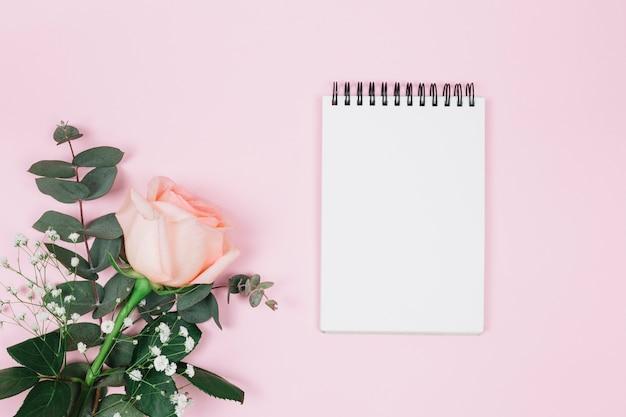 Bloc de notas espiral en blanco con flor de rosa y gypsophila contra fondo rosa