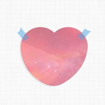 Bloc de notas con fondo de galaxia rosa en forma de corazón y cinta washi