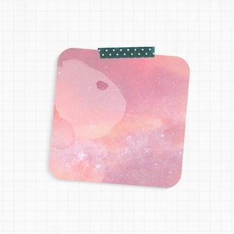 Bloc de notas con forma cuadrada de fondo de galaxia rosa y cinta washi