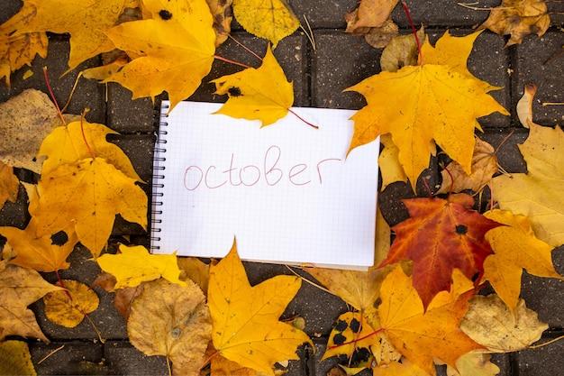 Bloc de notas con inscripción octubre se encuentra en hojas de otoño en pista de mosaico