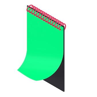Bloc de notas isométrico 3d negro, rojo y verde